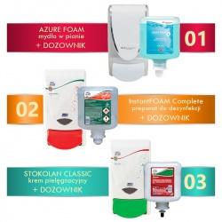 Zestaw: kompleksowa higiena i pielęgnacja dłoni (mydło, dezynfekcja, krem + dozowniki) - Deb-STOKO