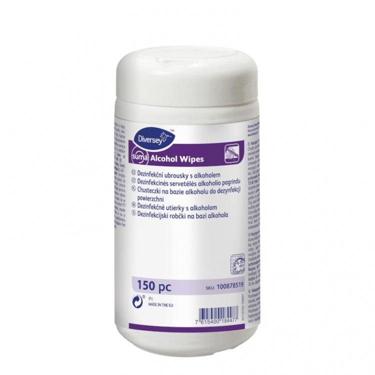 Diversey Suma Alcohol Wipes -  chusteczki do dezynfekcji powierzchni na bazie alkoholu - 150 szt.