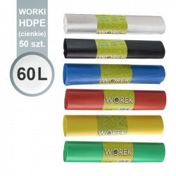 Worki foliowe na odpady HDPE (cienkie) 60 l - 50 szt - Olimar